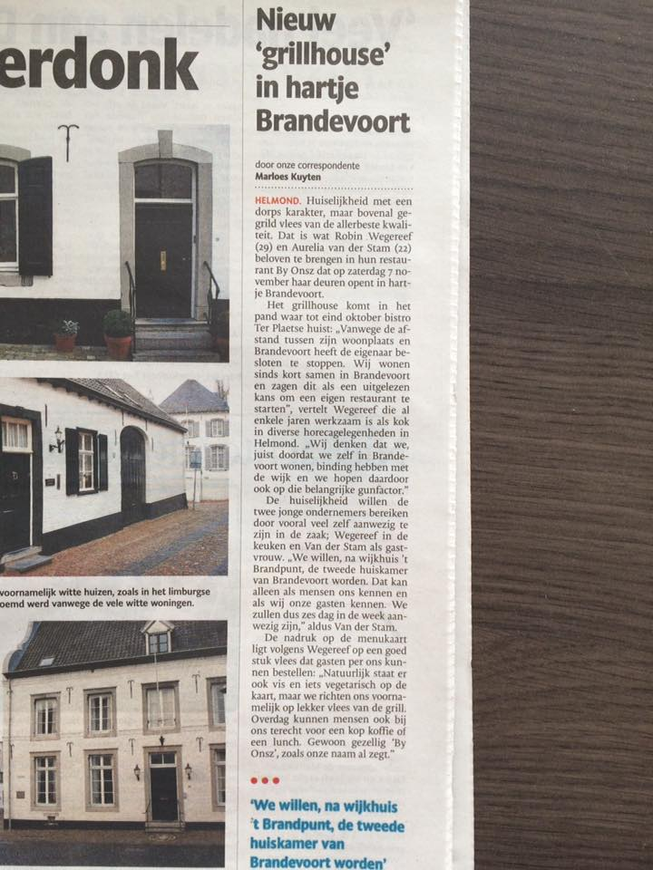 eindhovens dagblad artikel opening grill house by onsz helmond brandevoort